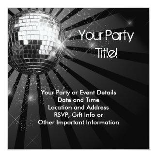 Silbernes Schein-Disco-Ball-Party Quadratische 13,3 Cm Einladungskarte