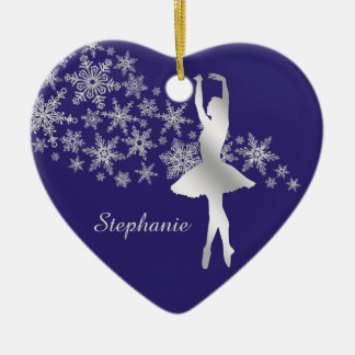 Silbernes Schneeflocke-Ballerina-Blau Keramik Ornament