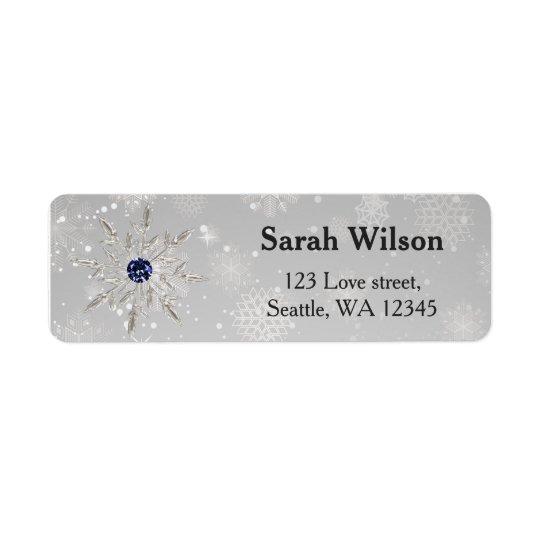 silbernes Schneeflocke-Brautparty-Adressen-Etikett
