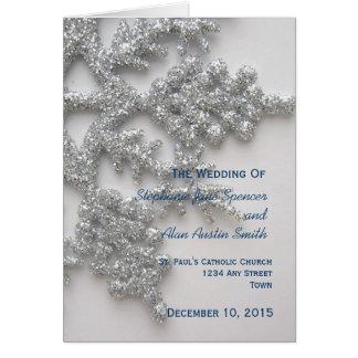 Silbernes Schneeflocke-Hochzeits-Programm Grußkarte