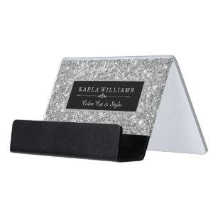 Silbernes Schreibtisch-Visitenkartenhalter