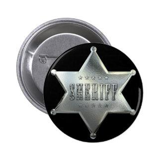 Silbernes Stern-Sheriff-Abzeichen Runder Button 5,7 Cm