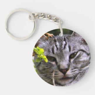 Silbernes Tabby-Katzen-Gesicht Keychain Schlüsselanhänger