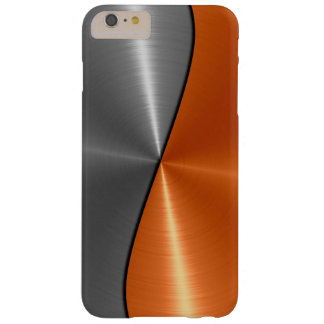 Silbernes und orange Edelstahl-Metall Barely There iPhone 6 Plus Hülle