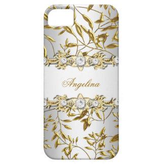 Silbernes weißes Imitat-Golddiamant-Juwel-Bild Etui Fürs iPhone 5