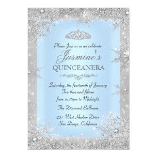 Silbernes Winter-Märchenland blaues Quinceanera Karte