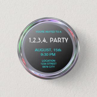 Silbriger Knopf für Text, Logo oder Bild Runder Button 2,5 Cm