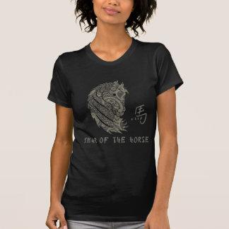Silbriges graues Paisley-Jahr des Pferds T-Shirt