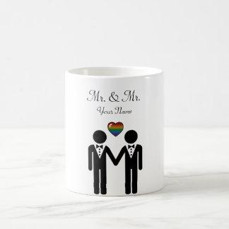 Silhouette-Bräutigam und Bräutigam - groß Kaffeetasse