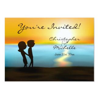 Silhouette Couple Sunset Beach Wedding Invitation 12,7 X 17,8 Cm Einladungskarte
