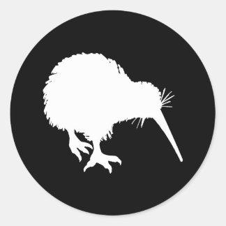 Silhouette de kiwi autocollants ronds