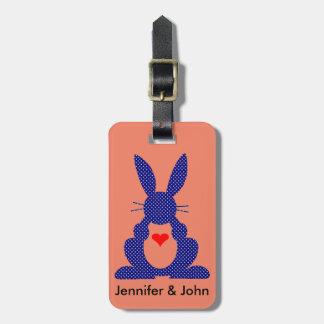 Silhouette de lapin, étoiles bleues de blanc étiquette à bagages