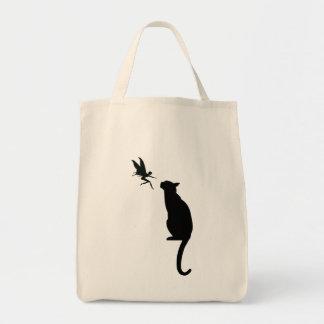Silhouette der schwarzen Katze und der Fee Einkaufstasche