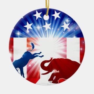 Silhouette-Esel-kämpfender Elefant Rundes Keramik Ornament