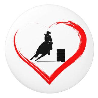 Silhouette-Fass-laufendes Pferd und rotes Herz Keramikknauf