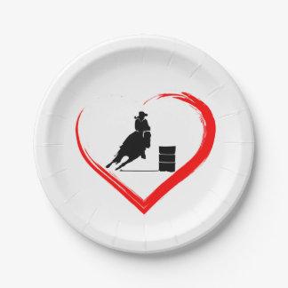 Silhouette-Fass-laufendes Pferd und rotes Herz Pappteller