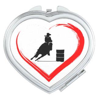 Silhouette-Fass-laufendes Pferd und rotes Herz Schminkspiegel