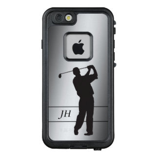 Silhouette-Golfspieler-Monogramm auf Silber LifeProof FRÄ' iPhone 6/6s Hülle