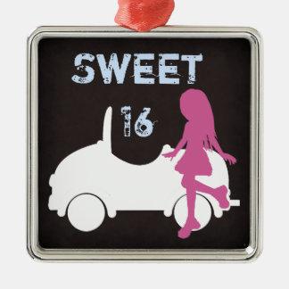 Silhouette-Mädchen und Auto des Bonbon-16 ~ Rosa Silbernes Ornament