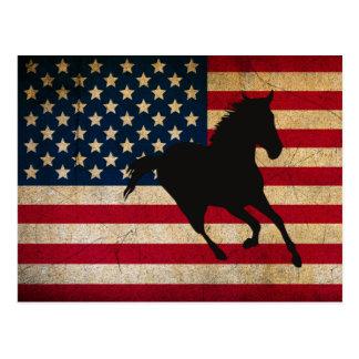 Silhouette-Pferd und patriotische vereinigte Postkarte