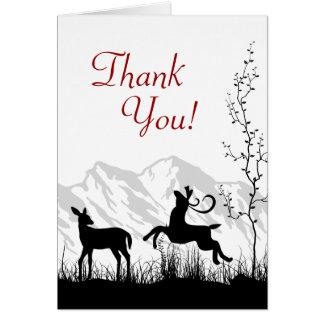 Silhouette-Rotwild-Paar-Berg danken Ihnen Mitteilungskarte