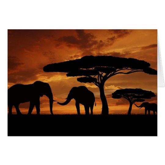Silhouetten der afrikanischen Elefanten im Karte