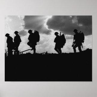 Silhouetten des Soldat-WW1 - Kampf von Broodseinde Poster