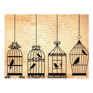 Silhouettes de cage à oiseaux cartes postales