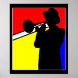 Silhouettez le joueur de trombone, l'art mondrian  poster