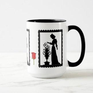 SIllhouette Tasse, Blumen auf einem Sockel Tasse
