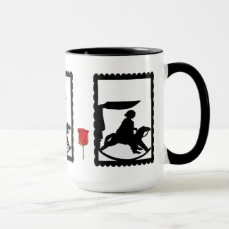 SIllhouette Tasse, Kind mit einem Schwingpferd Tasse