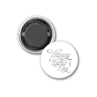 Silver Happy Fathers Day Runder Magnet 3,2 Cm