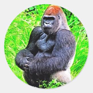 Silverback-Gorilla-Foto-Malerei Runder Aufkleber