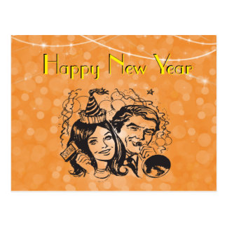Silvesterabend-Krachmacher-Paare feiern Postkarte