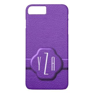 Simulierter lila Buchstabe-Monogramm-Kasten des iPhone 7 Plus Hülle