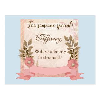 Sind Sie mein Brautjungfer Rosa und Blau Postkarte