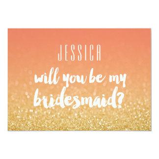 Sind Sie mein Brautjungfern-Goldpfirsich Ombre 12,7 X 17,8 Cm Einladungskarte
