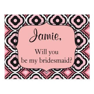 Sind Sie mein Brautjungfernrosa und schwärzen Postkarten