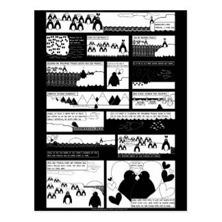 Sind Sie mein Pinguin? Schwarzes BG Postkarte