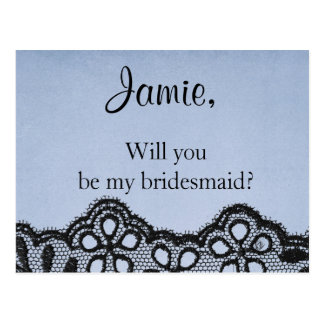 Sind Sie meine blaue Brautjungfer und schwarzes Postkarten