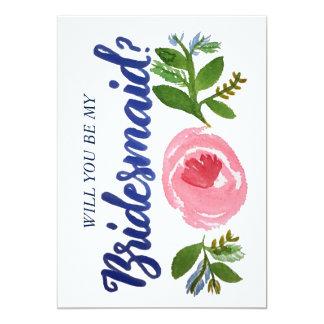 Sind Sie meine Brautjungfer? Blumen- und blaue 12,7 X 17,8 Cm Einladungskarte
