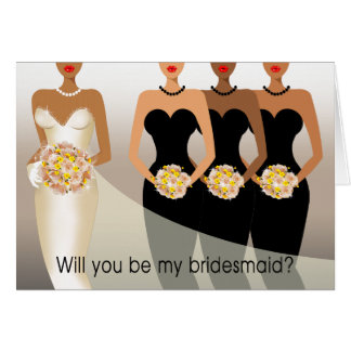Sind Sie meine Brautjungfer? Brautpartyschwarzes Karte