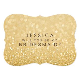 Sind Sie meine Brautjungfern-GoldGlitter-Karte 12,7 X 17,8 Cm Einladungskarte