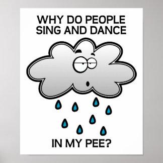 Singen Sie und tanzen Sie in das Pipi-lustige Poster