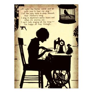 Singennähende Dame Vintage Fairy Poem Postkarte
