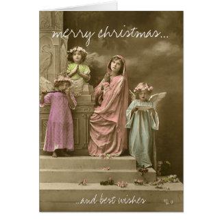 Singing angel vintage christmas greeting card grußkarte