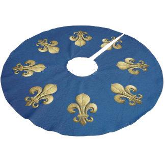 Single-GoldLilie auf Blau Polyester Weihnachtsbaumdecke