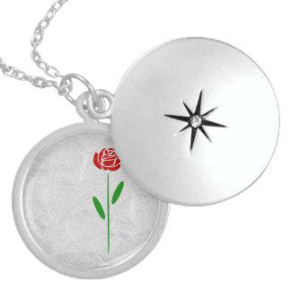 Single-Kunst-Deko-Rosen-Grün-Blätter und Stamm Sterling Silberkette
