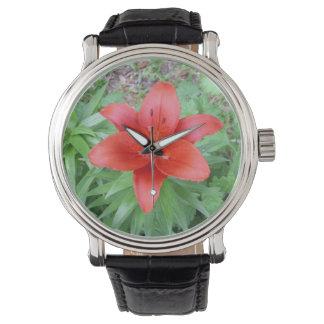 Single-rote Blumen-Uhr Uhr