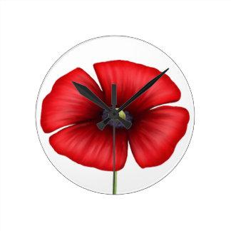 Single-rote Mohnblumen-Wand-Uhr Runde Wanduhr